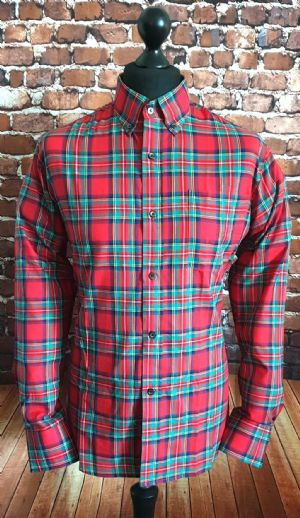 """Douglas"" Red Tartan Check Long Sleeve Shirt"